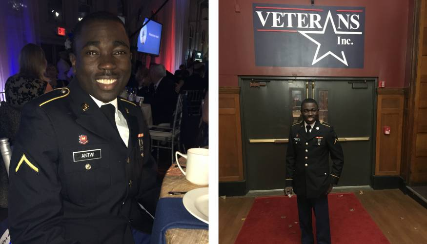 Army Specialist Manny Antwi represented Veteran Affairs at the Military Gala held at Vets Inc. in Worcester.