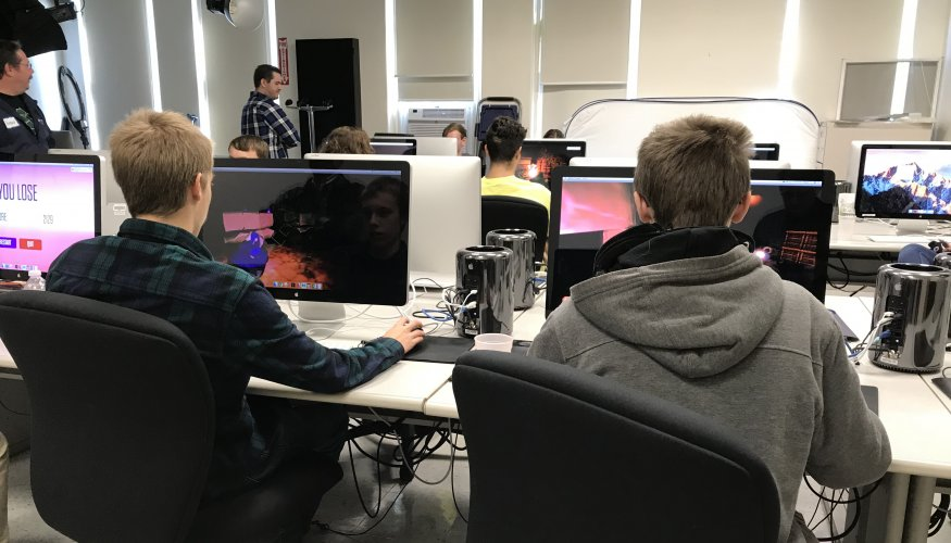 High school students get to try their hand at gaming.