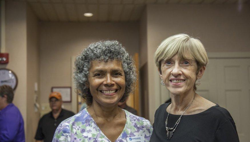 QCC retiring staff members Maria Addison (L) and Donna Kilgore (R).