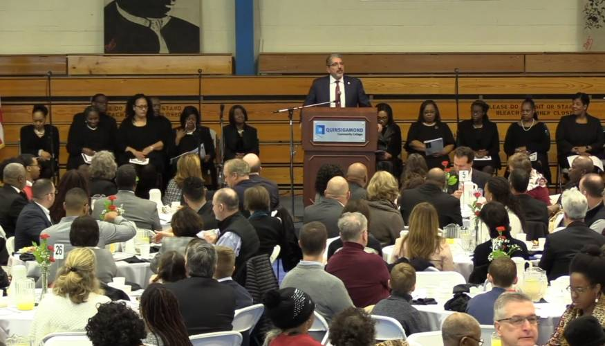 QCC President Dr. Luis G. Pedraja spoke at the MLK Jr. Worcester County Community Breakfast.