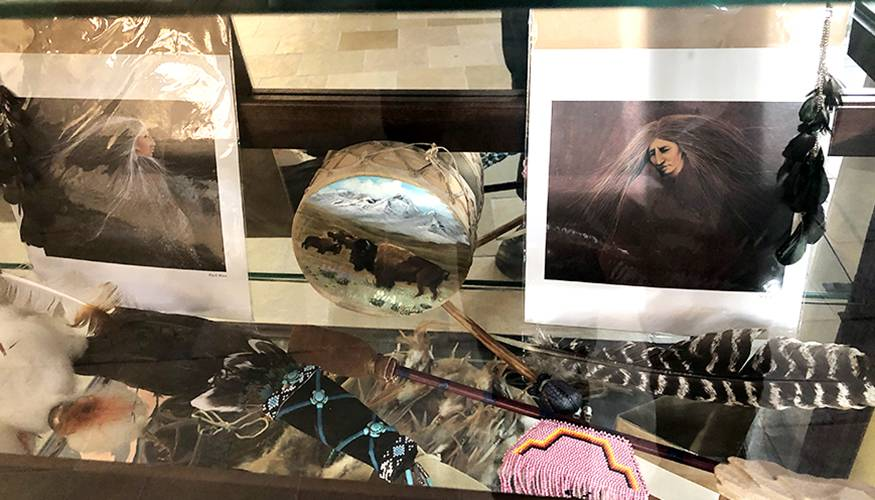 Native American artifacts were on display in the Harrington Learning Center.