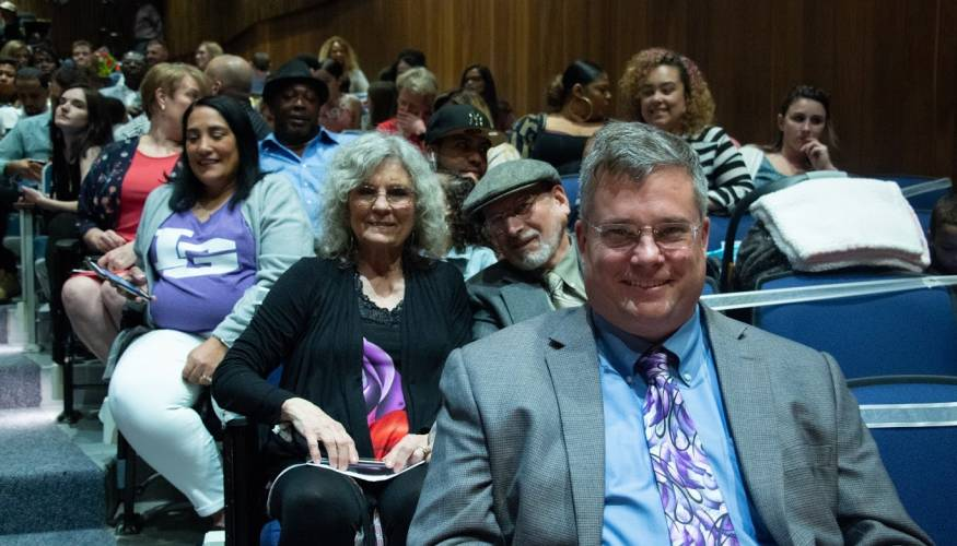 Dean of the School of Healthcare Pat Schmohl was front and center at the nursing graduation.