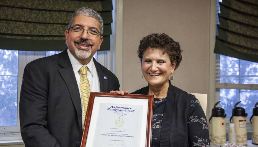 QCC President Dr. Luis Pedraja and Professor of Nursing Ellen Vangel-Brousseau