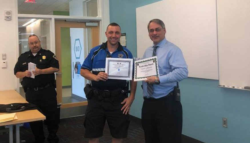 Officer Todd LaBranche received both the Leadership Award and the Good Conduct Medal from QCC Police Chief Kevin Ritacco.