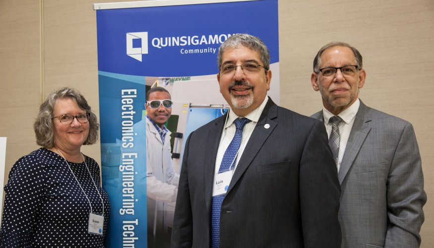 From left: Susan Mailman, Owner and President of Coghlin Electrical Contractors, Inc. and Coghlin Network Services, Inc. and QCC Chair of the Board of Trustees, QCC President Dr. Luis G. Pedraja and COO Stephen Marini.