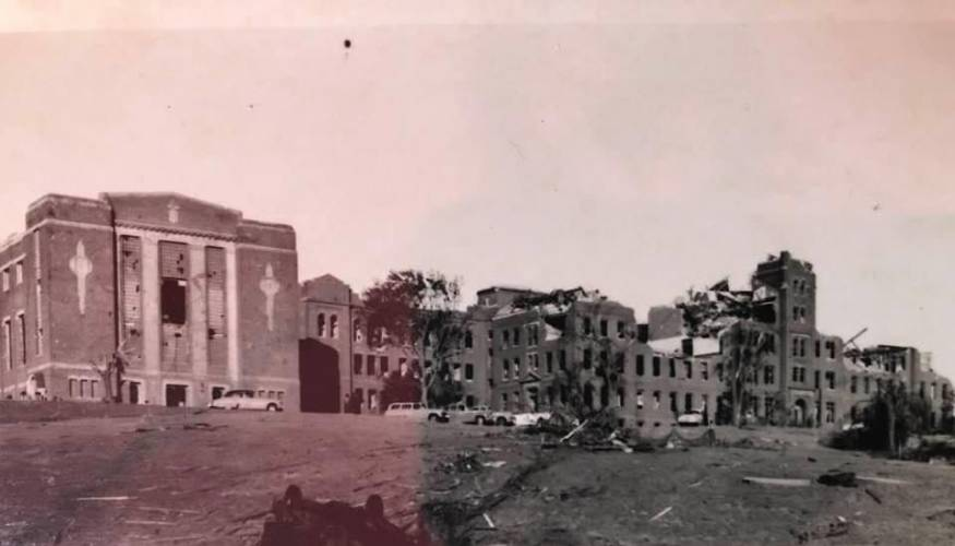 The tornado of 1953 decimated what was to become QCC's Administration building.