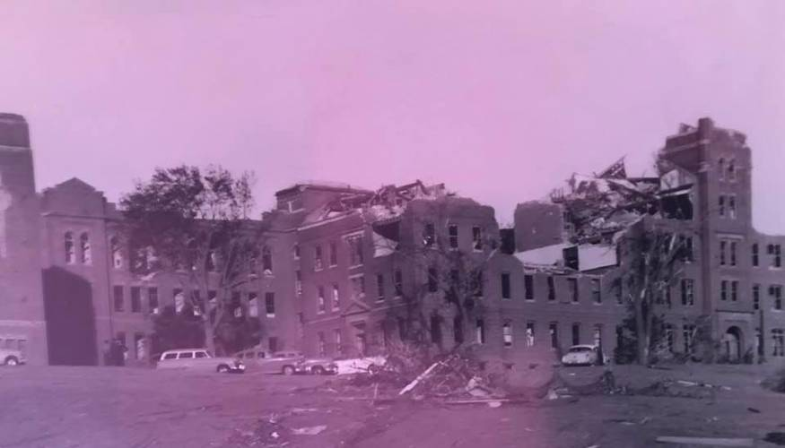 The convent at Assumption College (now QCC's Administration building) took the brunt of the F4 Tornado of '53.