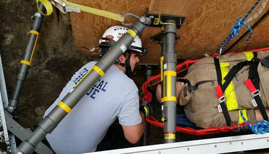 Sutton Fire Department District Fire Chief Robin Dresser during trench rescue training.