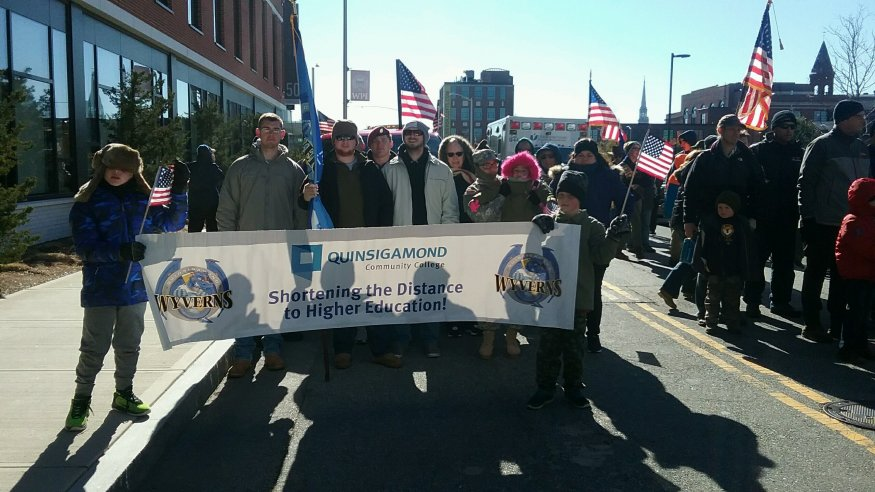 QCC Veterans Club Members proudly walked in the Worcester Veterans Day parade.