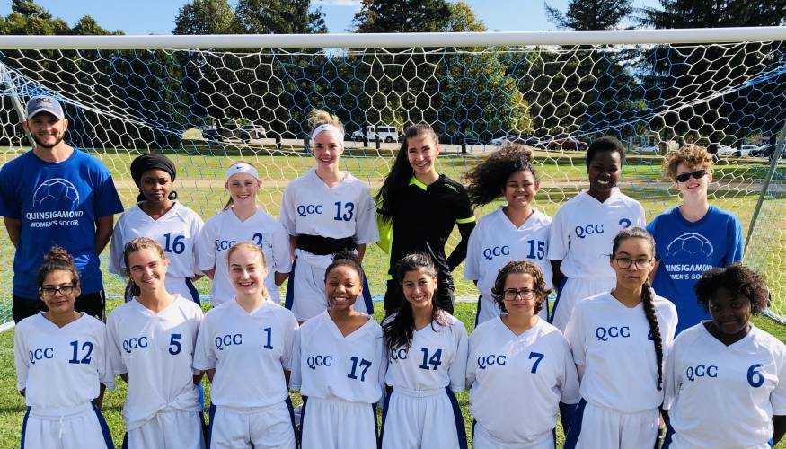 The 2019 Wyvern's Women's Soccer team with coach Josh Cole.