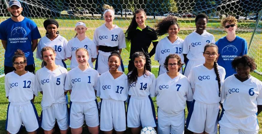 The 2019/20 Women's Soccer Team. Outstanding Student Athlete Award winner Haley Gordan is third from the lower left (#1).