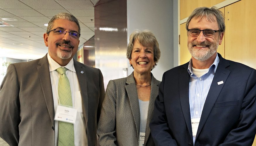 QCC President Luis Pedraja, QCC Assistant Vice President for Workforce Readiness and Innovation Kathy Rentsch, and Michael Watts