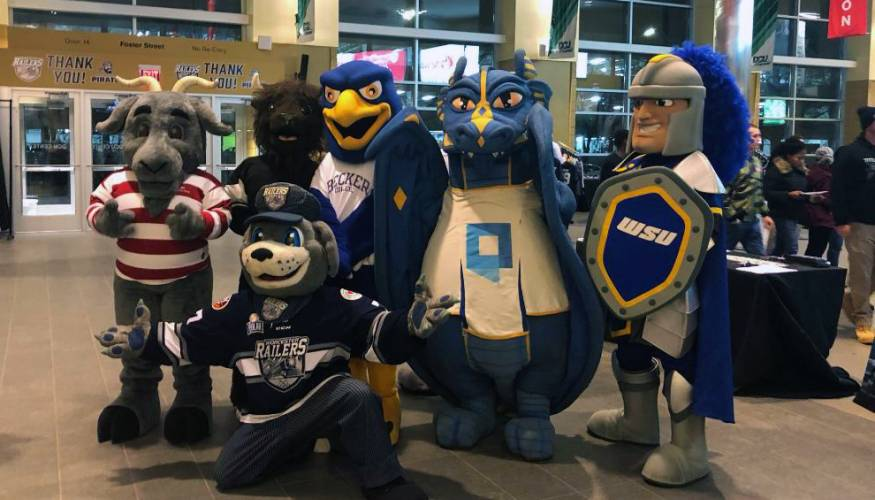 The Wyvern was one of the area college mascots that attended College Night at the DCU Center.
