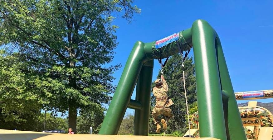 Students on the obstacle course at the Welcome Fair