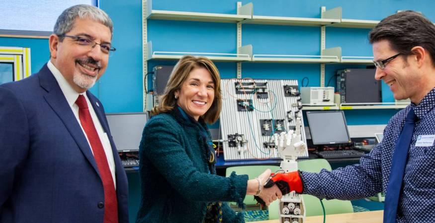 President Pedraja in the Advanced Manufacturing Lab