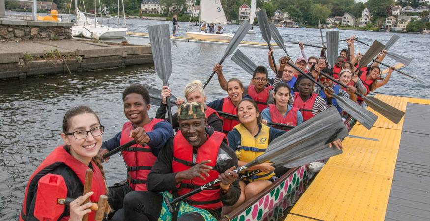 students at the dragon boat race