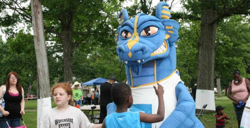 The wyvern mascot with kids