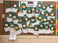 Artwork and messages earmarked troops in Afghanistan from a kindergarten class at the AMVET Elementary School in North Attleboro, MA.
